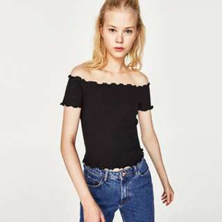 Black Zara Lettuce Trim Off-the-Shoulder Top