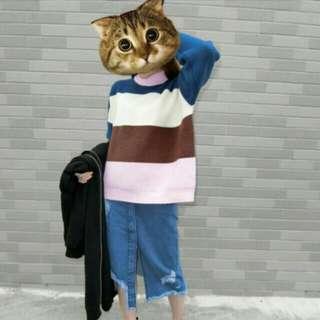 🚚 ✨正韓現貨🎉寬鬆繽紛條紋厚毛衣(粉領,藍領)