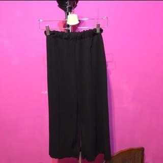 黑色寬褲 鬆緊帶