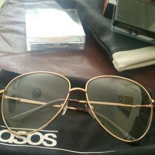 ASOS oversize geek chic clear lens gold aviator glasses