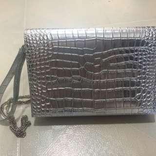 Harvey Nichols Clutch Bag - silver colour