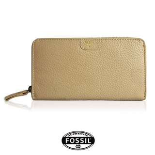 FS045*FOSSIL LARGE ZIP AROUND PURSE (BEIGE)