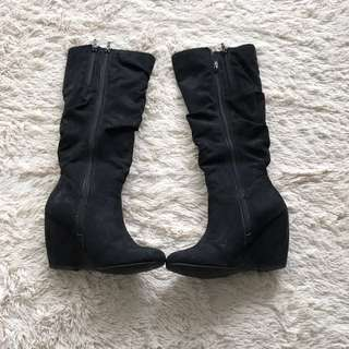 Black Wedge Knee High Boots