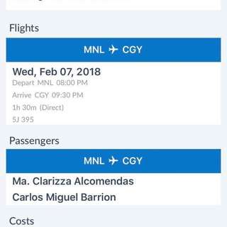 One way ticket for 2 pax Feb 7,2018