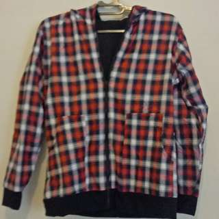 Double sided jacket red square black