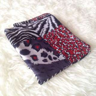 •PRELOVED• Red'Grey Animal Print Shawl