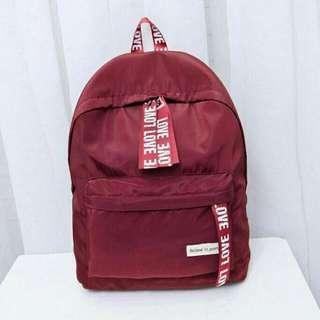 ❤Red / Maroon Love Bagpack / Schoolbag