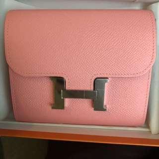 Hermes Constance short wallet Epsom rose confetti 1Q Silver buckle