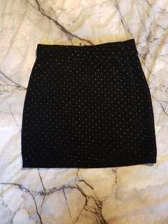 Velvet Mini Skirt with gold details