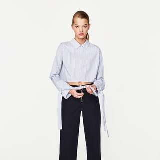 Zara tied sleeves cropped shirt