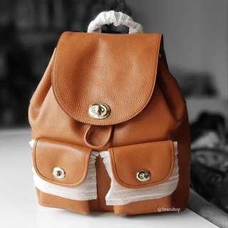 Authentic Coach Turnlock Pebble Leather Rucksack Backpack 37582