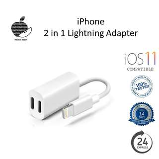 Lightning Dual-Port 2in1 Adapter for Headphones and Charging