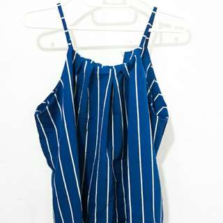 Turquoise Blue Striped Top