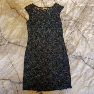 Black dress with blue lace