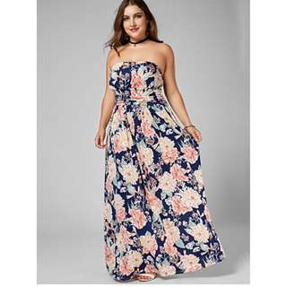 Plus Size Beach Vintage Casual Loose Dress, Floral Design Strapless Maxi Sleeveless Cotton Polyester