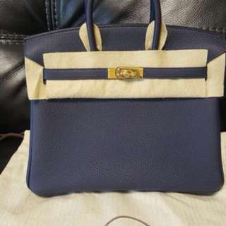 Birkins 25 Togo blue nuit gold buckle (1xx,xxx)