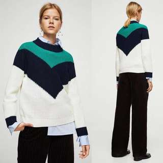 🚚 OshareGirl 12 歐美撞色拼接針織毛衣上衣
