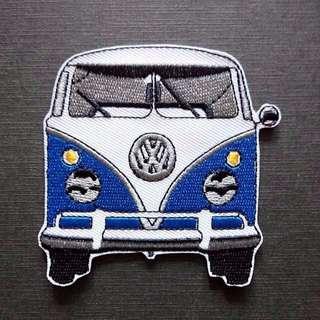 Volkswagen Van Blue Vintage Retro Iron On Patch