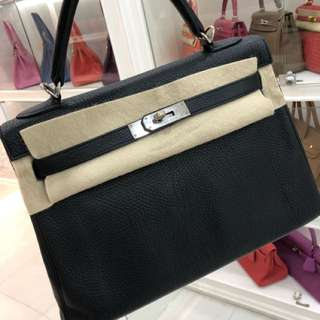 Hermes Kelly 32 黑銀