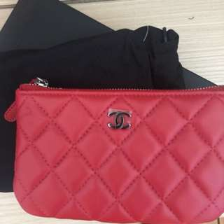 全新Chanel羊皮coins bag紅色