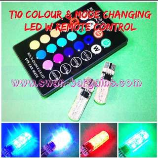 T10 Water-proof Remote Controllable 6SMD Multi-Colour & Multi-Mode Changing RGB LED Bulb