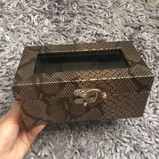 Brown Snakeskin Jewelry Box