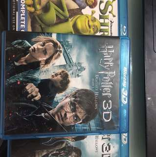 BLU-RAY 3D Movies - Shrek The Complete Collection 3D (All 4 movies), Harry Potter and the Deathly Hallows Part 1 and 2 3D