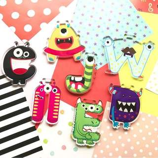 Monster alphabet bag tag - luggage tag