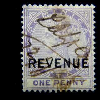 1874年英屬多米尼加(British Dominica)英女皇維多利亞1便士加蓋印花稅票(手寫註銷)