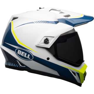 Bell Helmets Adult Off Road Motorcycle Motorbike Helmet MX-9 MX 9 Torch Adventure MIPS Gloss White Blue Yellow SIZE Medium ONLY escooter e scooter e-scooter helmet Special Limited Edition Colour