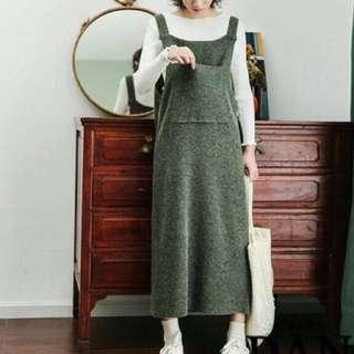 韓版百搭大口袋背帶裙毛衣裙連身裙