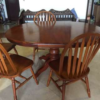 Extendable cherry wood dining table set + 6 chairs