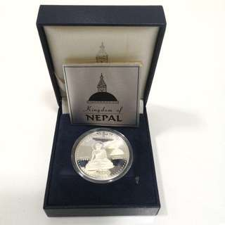 1995 Nepal Buddha Rs 500 silver proof coin-With original box and COA