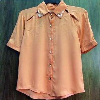 Casual Top Peach Color Sequins Colar