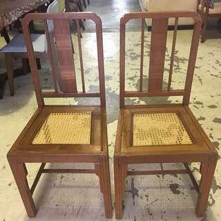 Marquetry rattan chair