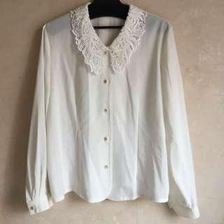 購自日本古著白色繡花領襯衫9成半新日本製