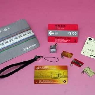 港鐵一週年合併紀念車票& Q版售票機及車票電話繩