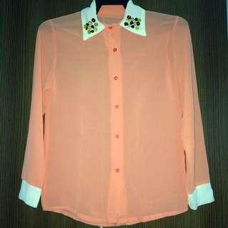 Long Sleeves Top Peach Color
