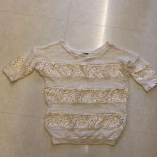 knitted beige Lace top