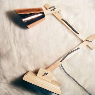 Copper/wooden lamp