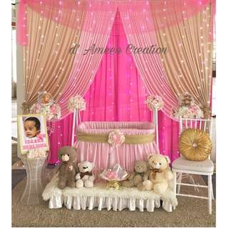 Baby decorations/ birthday/naming ceremonies/first month celebrations/wedding dais/pelamin/majlis aqiqah