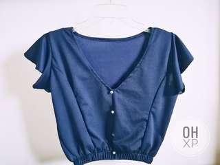 Silk V-Neck Top in Navy Blue
