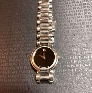 🚚 (二手)MOVADO 黑色簡約女錶不鏽鋼石英錶