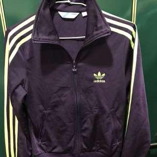 adidas紫+淺綠線條休閒運動外套,肩40、長59、袖629.5成新