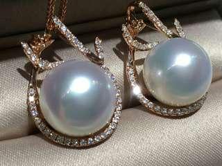 澳洲白珠吊墜 美到流口水🤤🤤 12.86M 12.92M 清純粉 珠光逆天美 18K鑲嵌鑽石💎 年終大特惠💰僅兩個 手慢就要等明年了😄