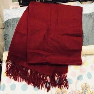 深紅色100%羊毛圍巾
