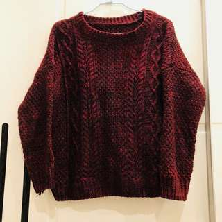 酒紅色麻花毛衣