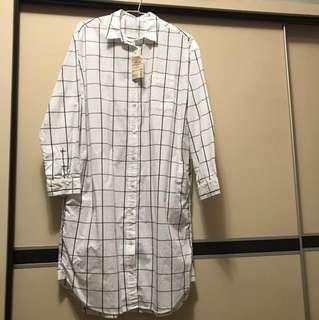 無印良品 有機棉水洗方格紋洋裝/白/L
