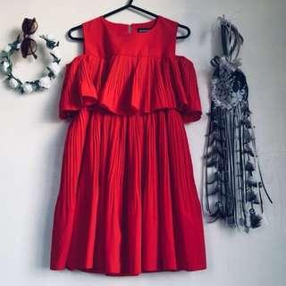 Cold Shoulder Red Dress