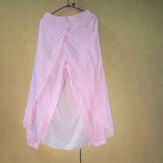 Rok celana garis garis pink